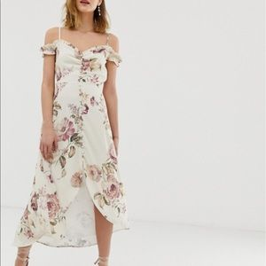 Hope & Ivy Ruffle Cold Shoulder Midi Dress